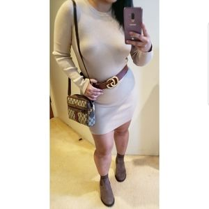 🎀 Forever 21 Beige Cream Ribbed Sweater Dress